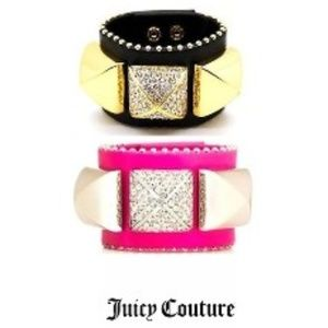 Juicy Couture Leather Cuff Pyramid Studded Bracele